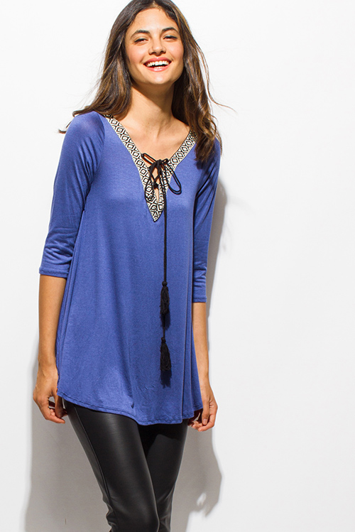 Cute cheap cobalt blue embroidered tassel tie quarter sleeve boho top