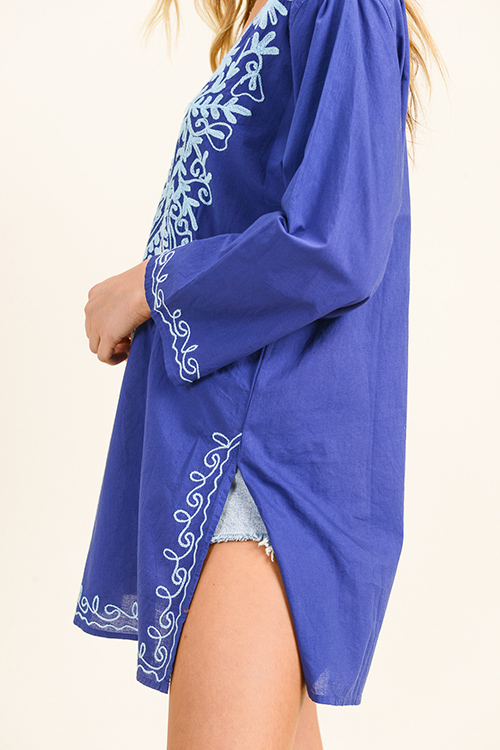 Cute cheap Cobalt blue embroidered v neck long sleeve side slit boho beach cover up tunic mini dress