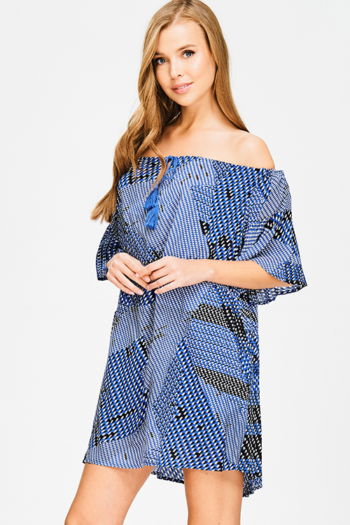Cute cheap cobalt blue off shoulder abstract print tassel tie pocketed short angel sleeve boho shift mini dress