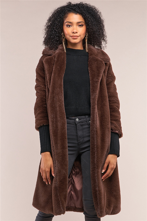 Cute cheap coffee brown long sleeve open front faux fur trench coat