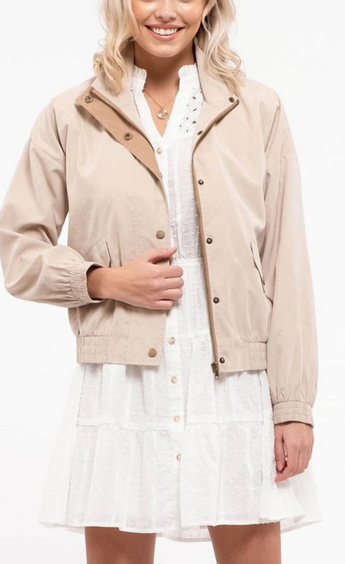 Cute cheap contrast light weight jacket