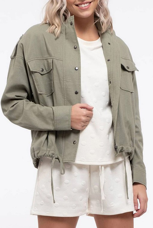 Cute cheap contrast stitched linen jacket