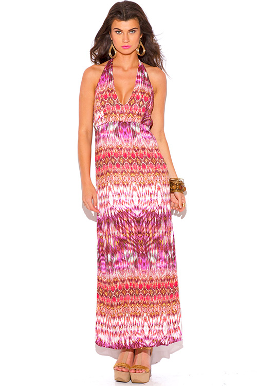 Cute cheap coral ethnic tie dye print deep v neck backless summer maxi sun dress