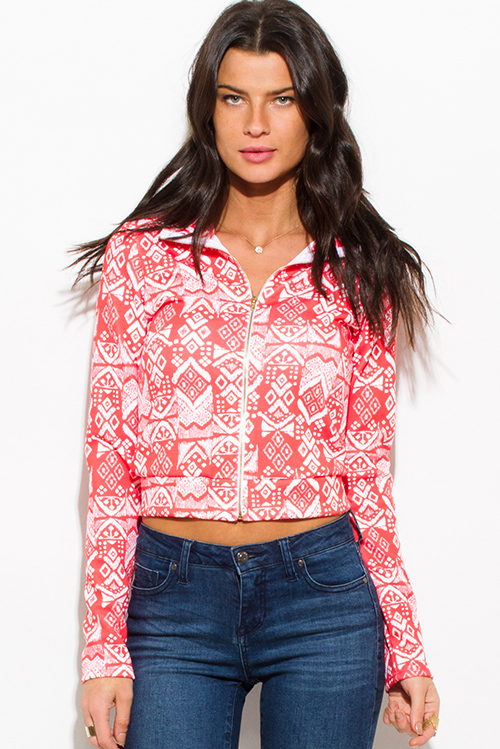 Cute cheap coral ethnic print zip up mock neck sporty long sleeve jacket top