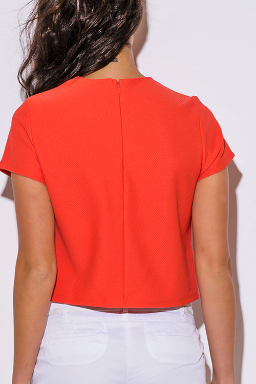 Cute cheap coral orange short sleeve preppy boxy top