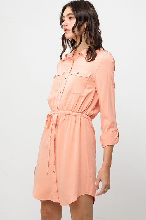 Cute cheap Coral peach long sleeve tie waist button up boho mini shirt dress