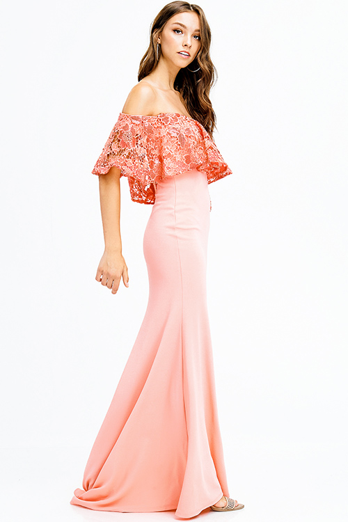 coral peach sequined crochet lace tiered off shoulder formal trumpet evening gown party dress
