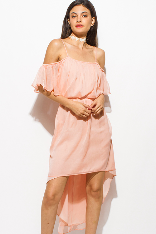 Cute cheap coral pink cold shoulder ruffle tie waist boho high low party sun dress