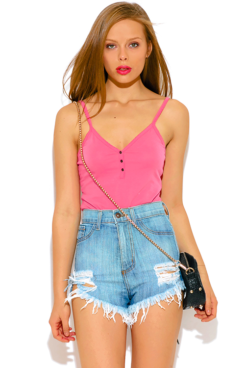 Cute cheap coral pink fitted henley bodysuit tank top