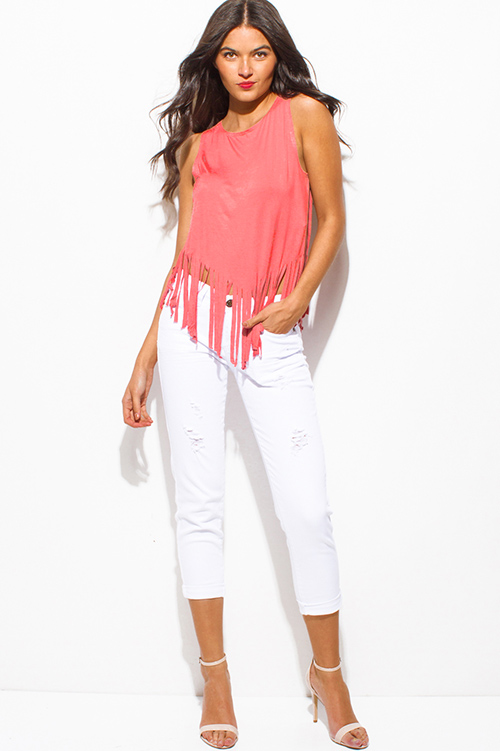 Cute cheap Coral pink jersey knit sleeveless fringe asymmetrical hem boho tank top