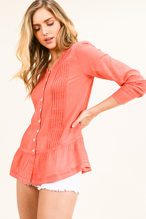 Cute cheap Coral pink long sleeve ruffle hem button up resort boho blouse top