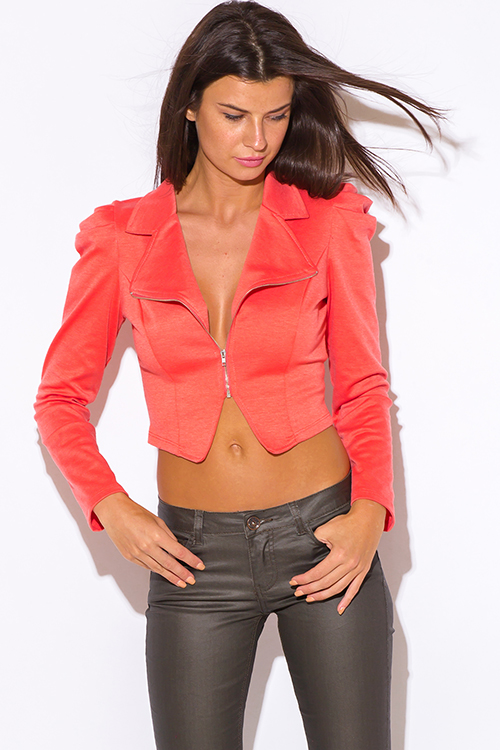 Cute cheap coral power shoulder bubble sleeve crop moto jacket top