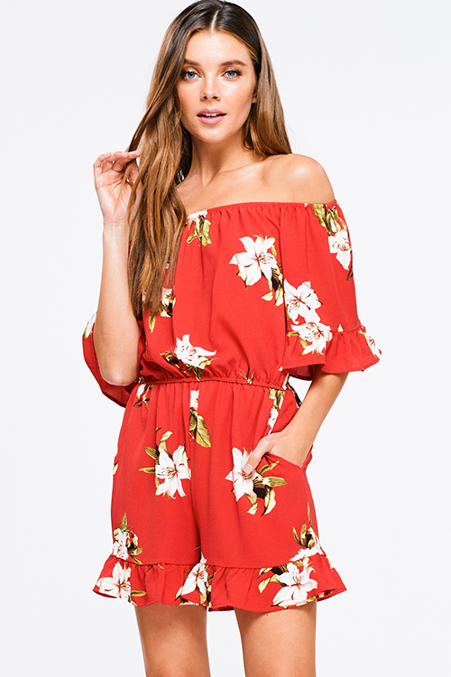 Cute cheap Coral red floral print off shoulder short sleeve pocketed boho party romper jumpsuit