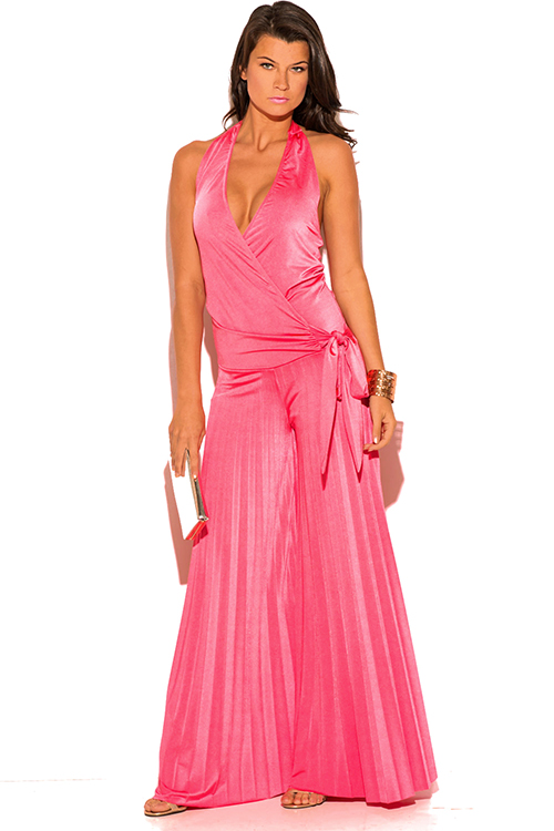 Cute cheap coral pink wrap halter backless pleated wide leg evening party jumpsuit