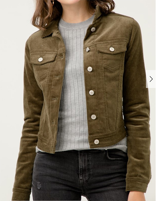 Cute cheap corduroy button up jacket