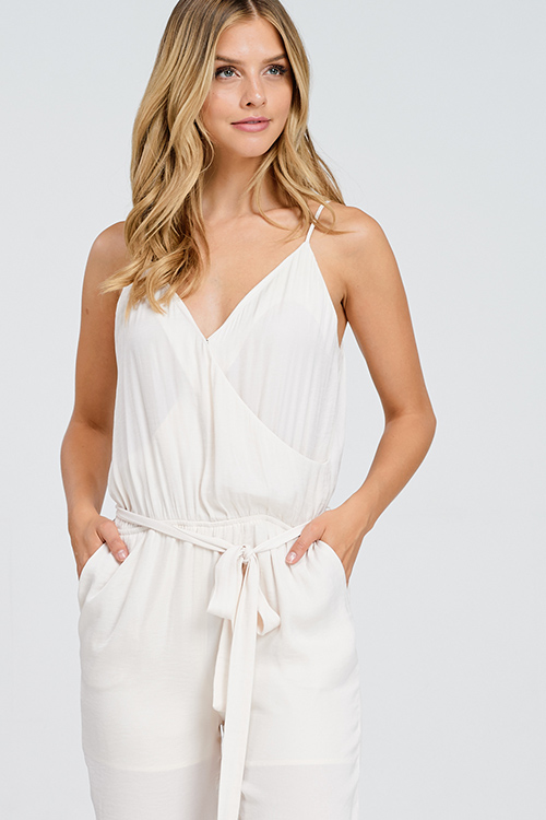 Cute cheap Cream beige crinkle satin sleeveless surplice belted pocketed harem evening jumpsuit