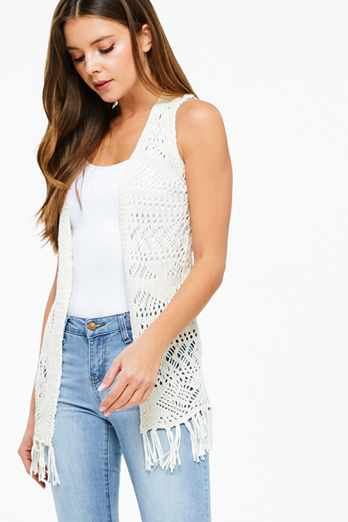 Cute cheap Cream beige crochet knit sleeveless tassel fringe trim open front boho vest cardigan