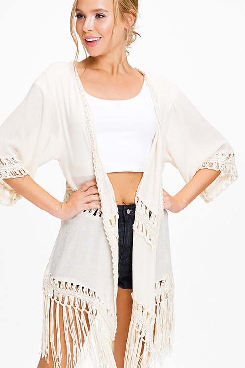 Cute cheap Cream beige crochet trim tassel fringe hem embroidered boho kimono cardigan