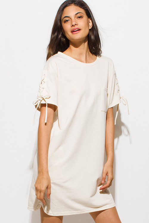 Cute cheap cream beige laceup short sleeve tee shirt pocketed mini dress