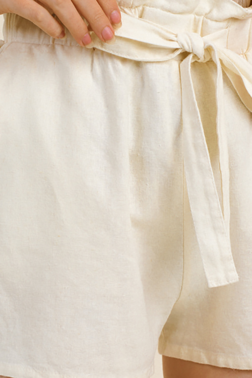Cute cheap Cream beige linen tie high waisted pocketed resort boho paperbag summer shorts