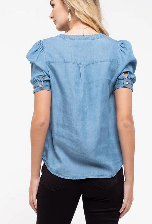 Cute cheap crochet trim chambray top