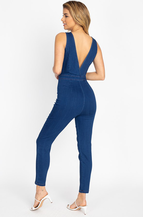 Cute cheap Dark blue denim sleeveless zipper front fitted skinny leg jumpsuit