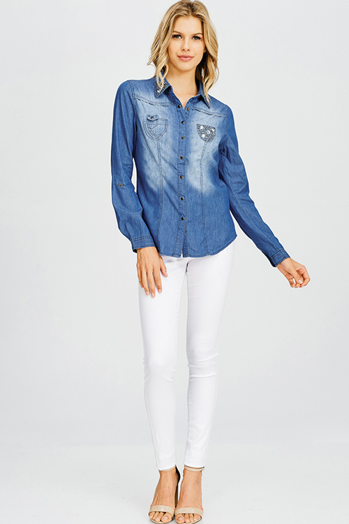 Cute cheap dark blue washed chambray denim rhinestone bejeweled studded long sleeve button up blouse top