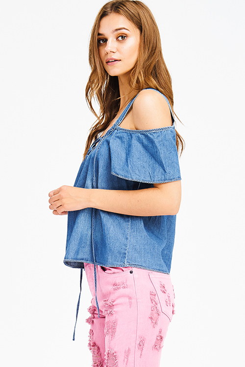 Cute cheap dark blue washed chambray laceup v neck cold shoulder boho denim top