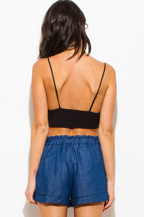 Cute cheap dark blue washed cotton blend pocketed waist tie boho lounge shorts