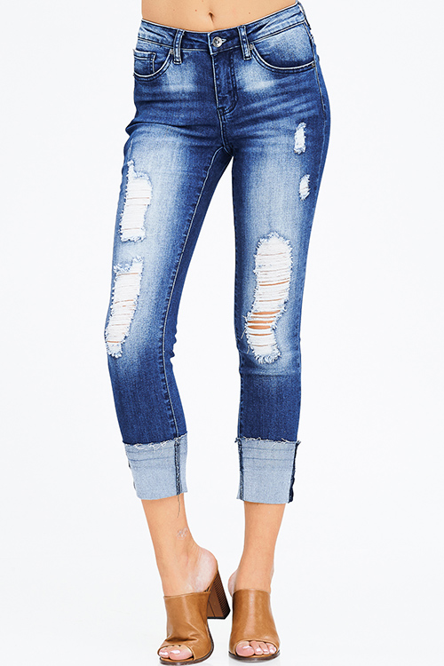 Cute cheap dark blue washed denim distressed mid rise fitted cuffed cropped jeans