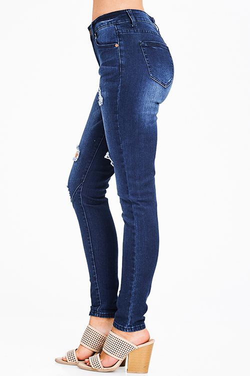 Cute cheap dark blue washed denim distressed mid rise fitted skinny jeans