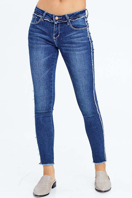 Cute cheap dark blue washed denim low rise fringe trim ankle fitted skinny jeans