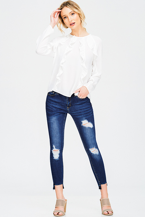 Cute cheap dark blue washed denim mid rise distressed destroyed cut out chewed hem ankle fit skinny jeans