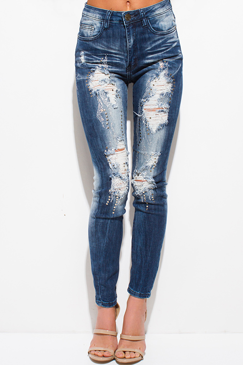 Cute cheap dark blue washed denim mid rise distressed embellished bejeweled fitted skinny jeans