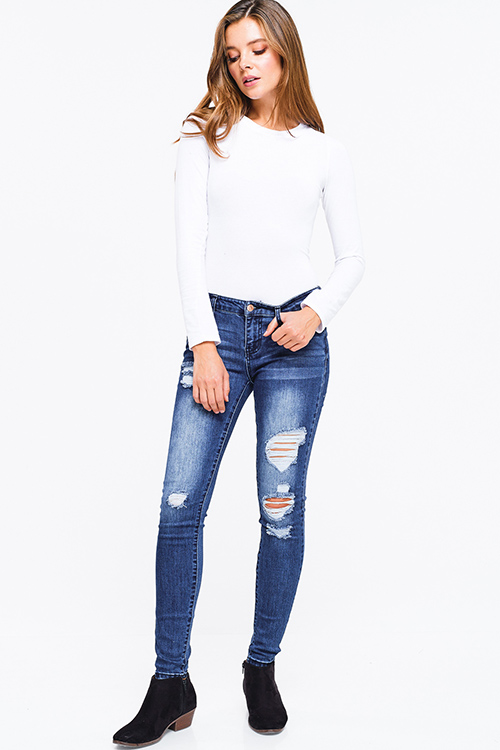 Cute cheap Dark blue washed denim mid rise distressed ripped fitted skinny jeans