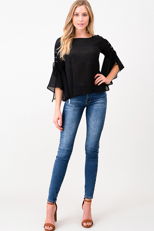 Cute cheap Dark blue washed denim mid rise fitted skinny jeans