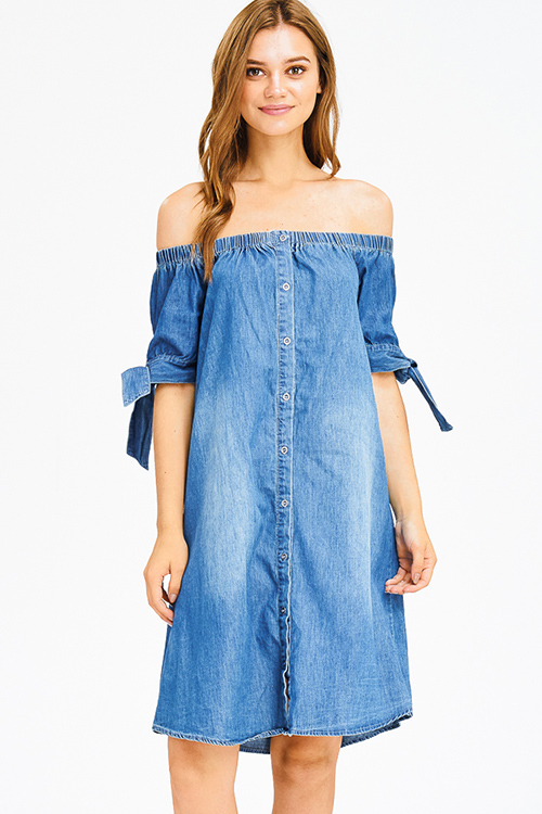 Cute cheap dark blue washed denim off shoulder tie sleeve button up boho shift mini dress