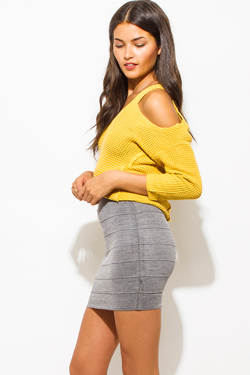 Cute cheap charcoal gray ribbed knit bandage bodycon fitted club mini skirt