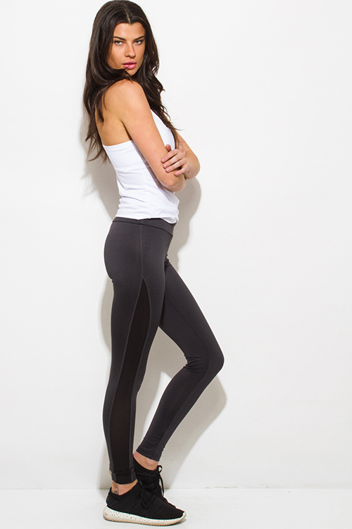 Cute cheap dark charcoal gray side see through mesh panel fitness yoga leggings