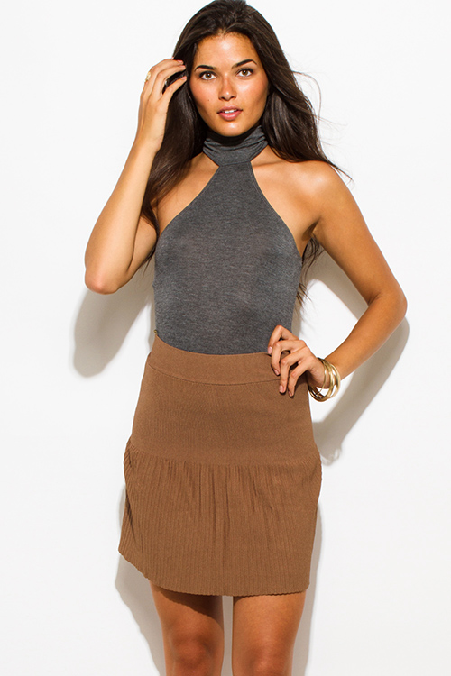 Cute cheap dark mocha brown solid banded high waisted fitted mini skater skirt