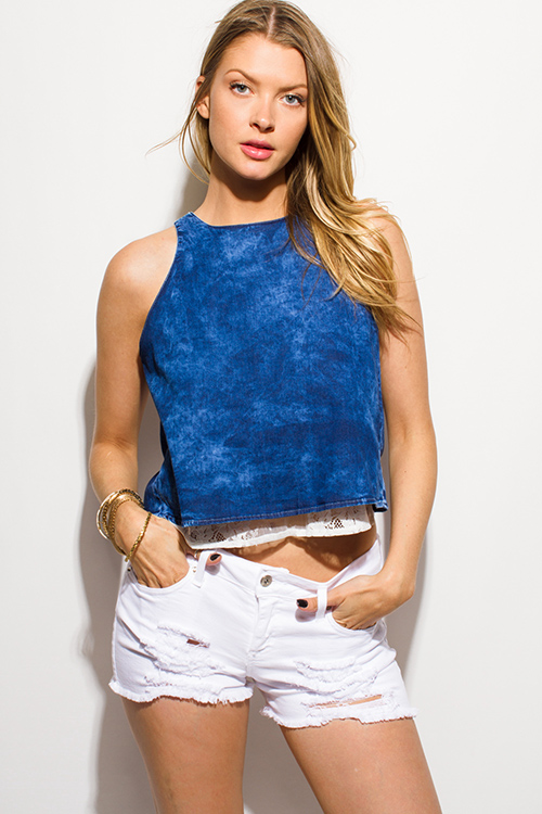 Cute cheap dark navy blue acid washed tie dye chambray lace contrast open back boho tank top