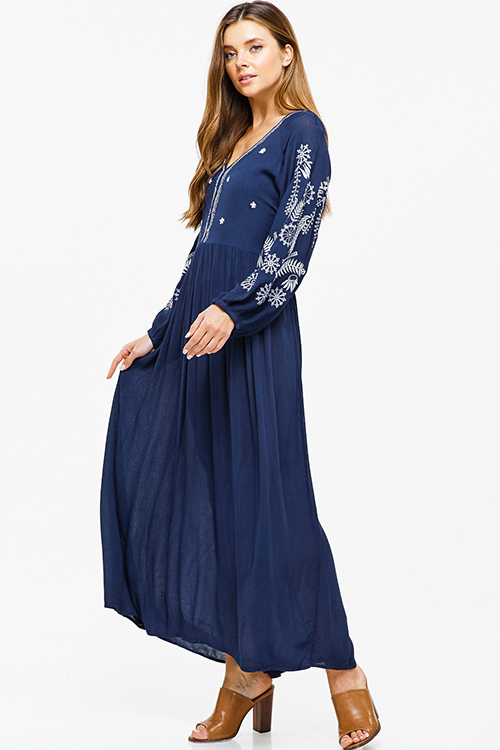 Cute cheap Dark navy blue embroidered v neck tie waist keyhole back boho peasant maxi dress