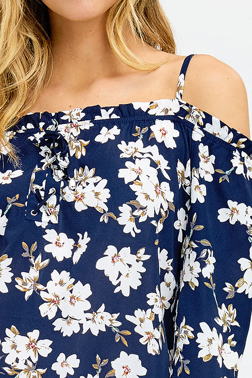 Cute cheap dark navy blue floral print long sleeve cold shoulder tie sleeve boho blouse top
