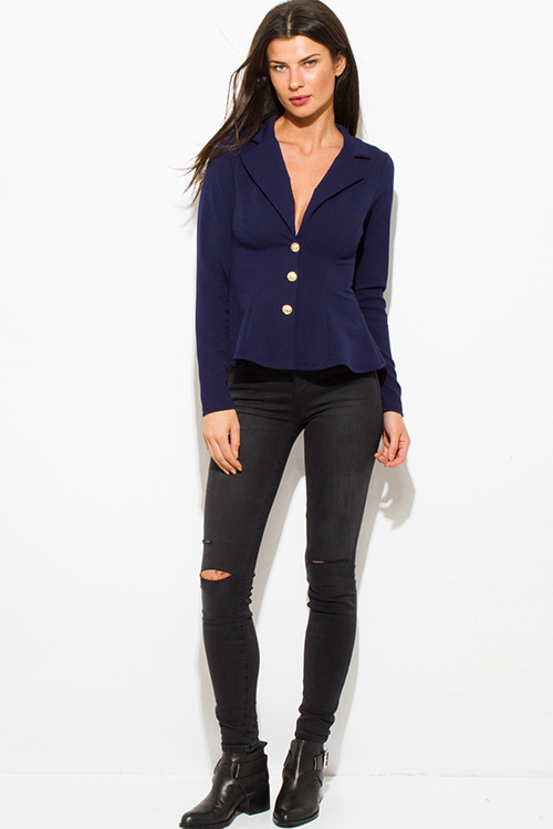 Cute cheap dark navy blue golden button long sleeve fitted peplum blazer jacket top