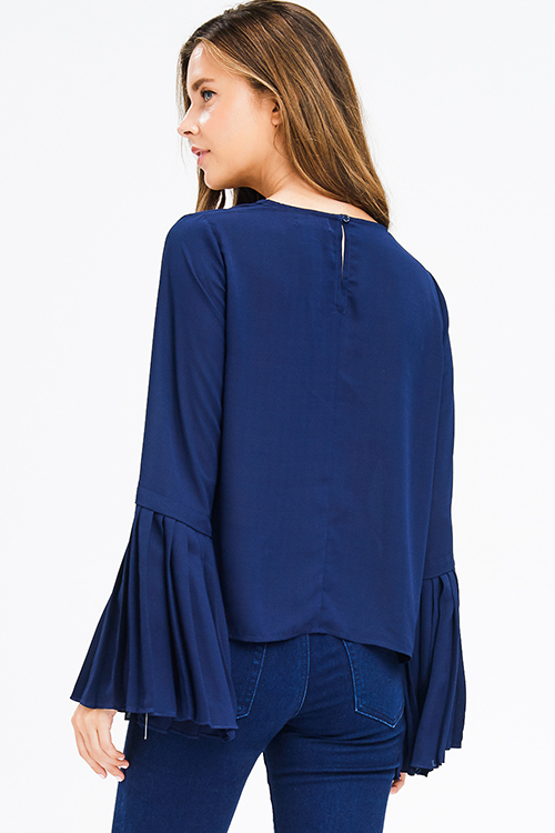 Cute cheap dark navy blue long pleated bell sleeve keyhole back blouse top