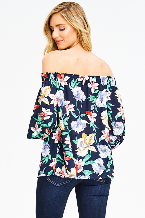Cute cheap dark navy blue multicolor floral print off shoulder long blouson sleeve boho blouse top