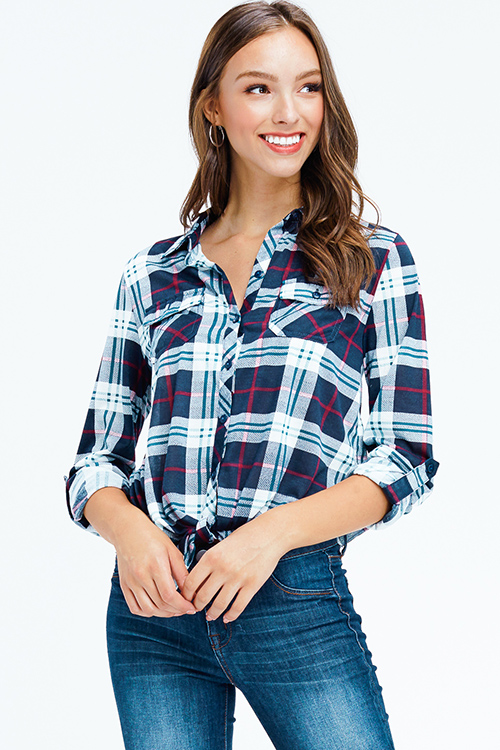 Cute cheap dark navy blue plaid long sleeve tie front button up blouse top