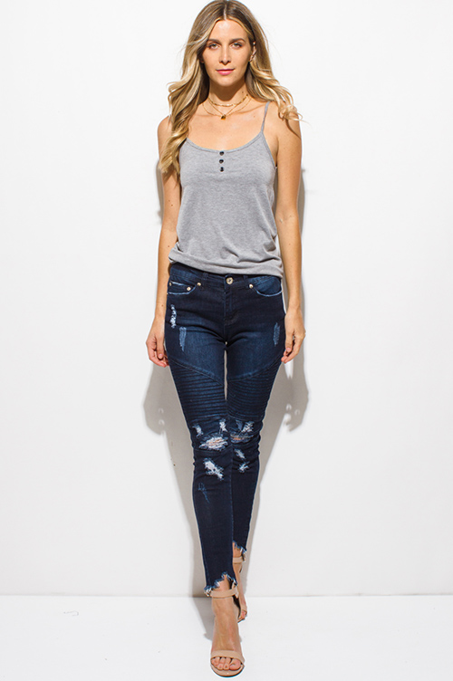 Cute cheap dark navy blue washed denim distressed destroyed chewed hem moto ribbed skinny jeans