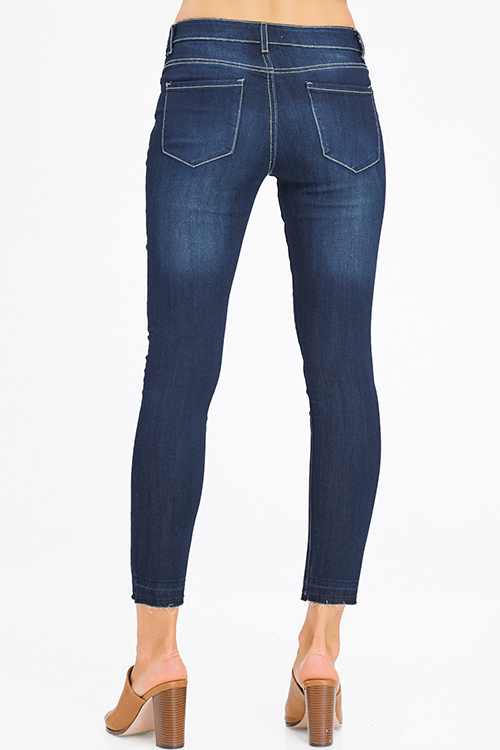 Cute cheap dark navy blue washed denim mid rise fitted cropped ankle skinny jeans