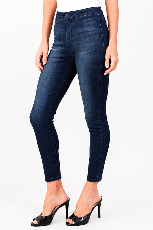Cute cheap dark navy blue washed denim plain front high rise ultra sculpt fitted skinny jeans